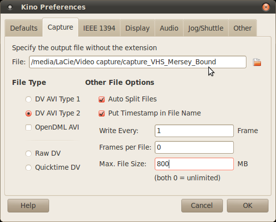 Screenshot of Kino Display Preferences